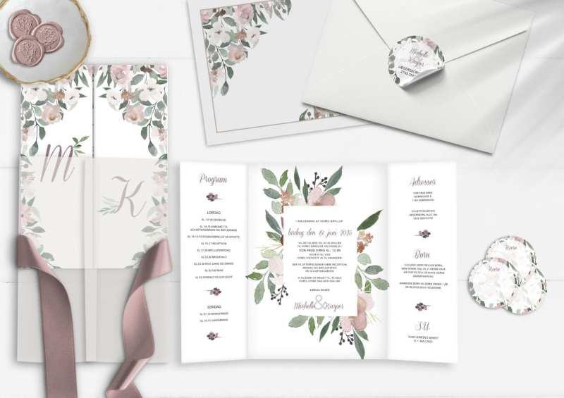 Blush Blossom, portefals invitation, bryllup