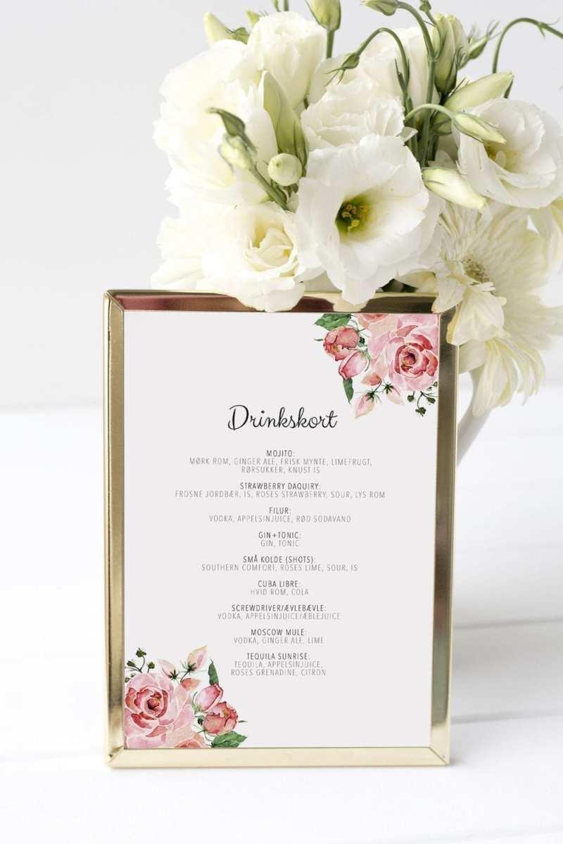 drinkskort, ramme, pale rose, bryllup