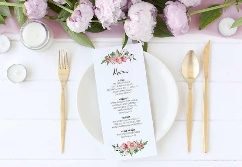 menukort blomster Pale Rose