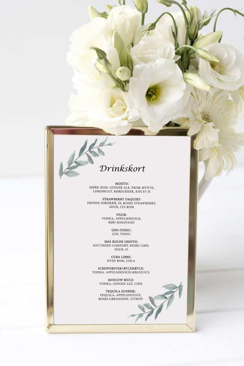 drinkskort, ramme, simple branch, bryllup
