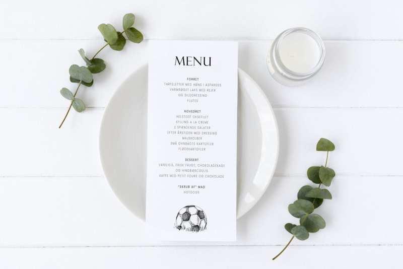 Soccer Goal, konfirmation, menukort