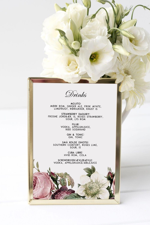 drinkskort, ramme, vintage floral, bryllup