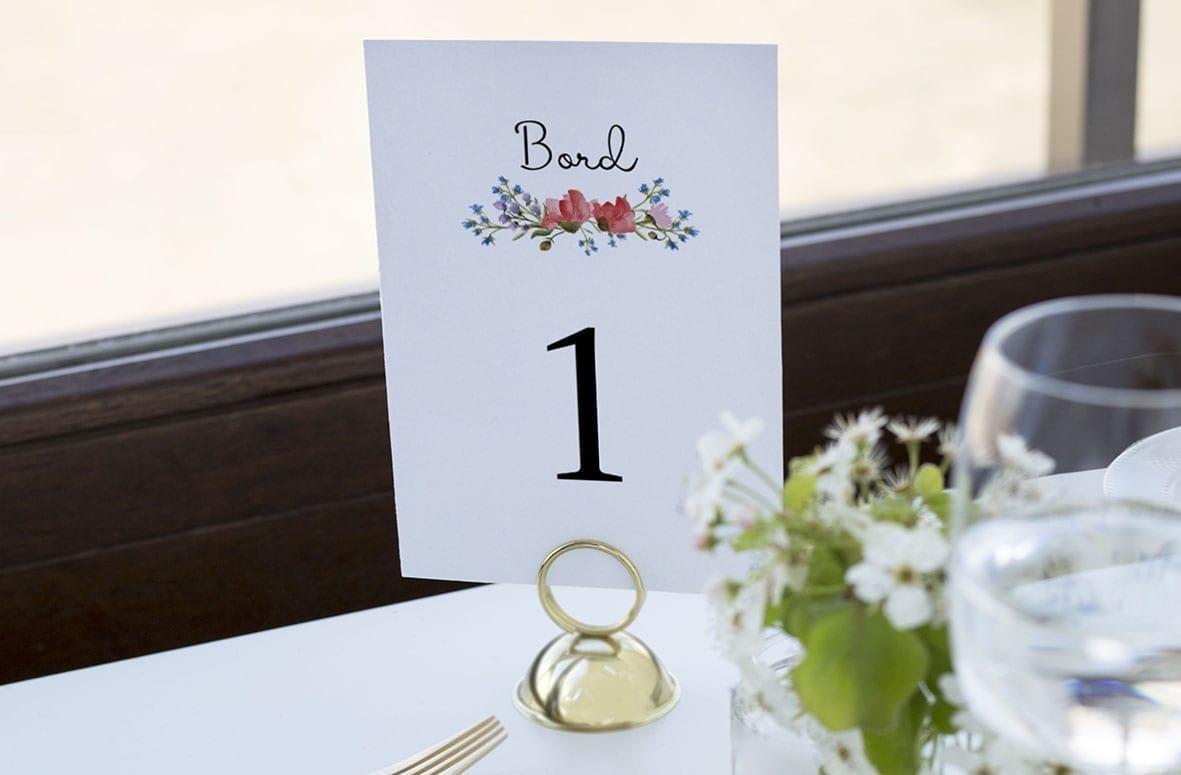 bordnummer, wild flowers, pynt opdækning, bordopdækning
