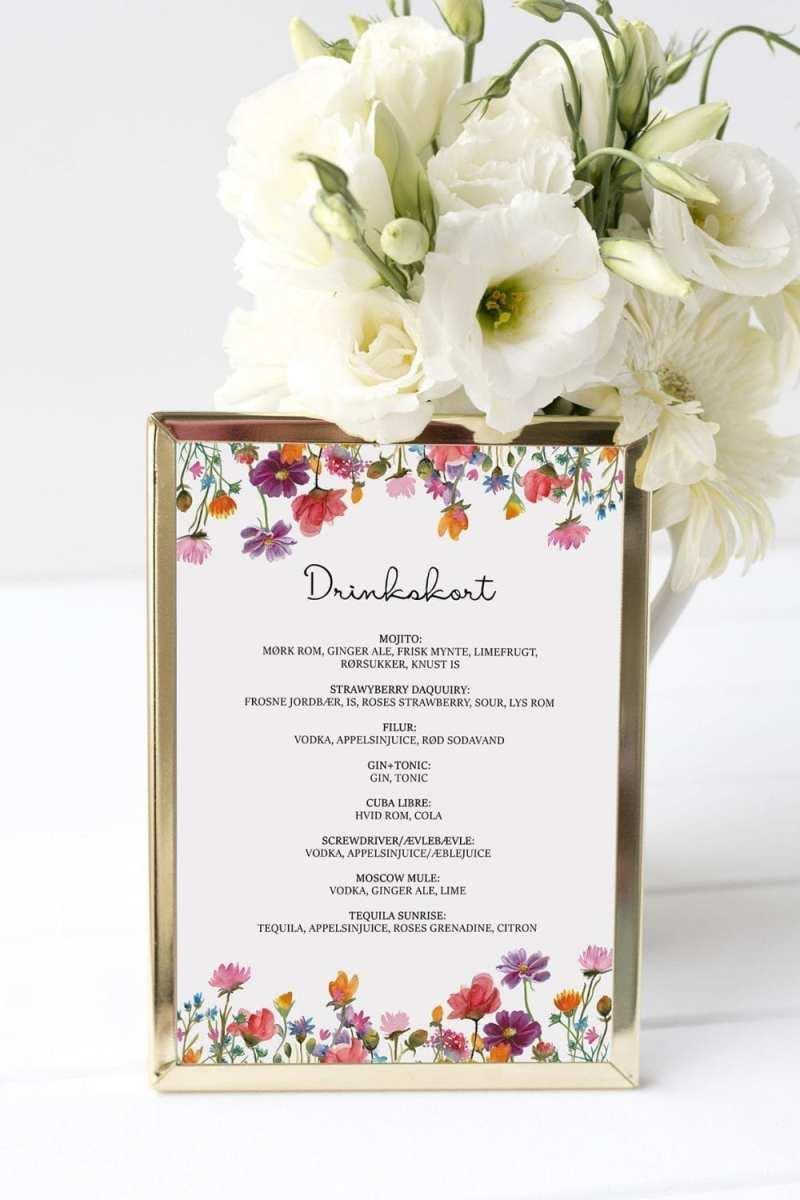 drinkskort, ramme, wild flowers, bryllup