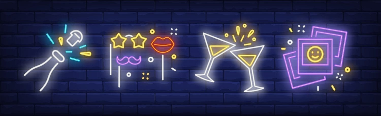 Party banner. Neon sign. Bachelor party