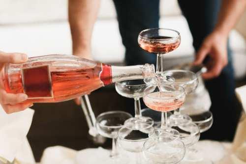 Rose. Glasses. Champagne