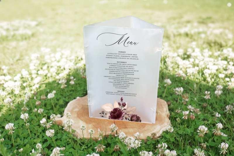 Frosted akryl skilt til bordet menu side Bordeaux bloom