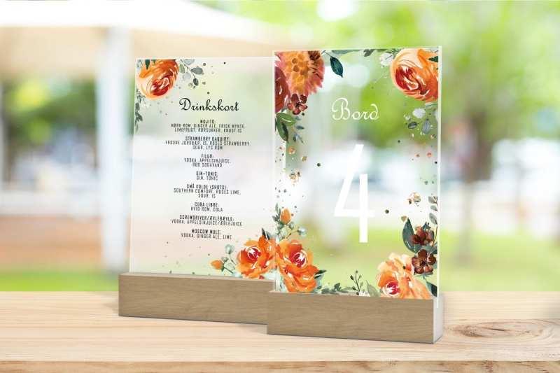 Skilt, drinkskort, photobooth, menu - Golden Bouquet