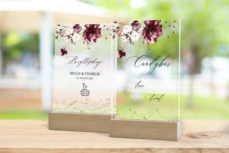 Skilt, drinkskort, photobooth, menu - Bordeaux Bloom
