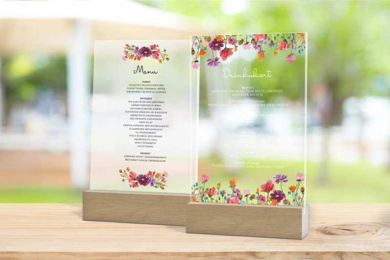 Skilt, drinkskort, photobooth, menu - Wild flowers