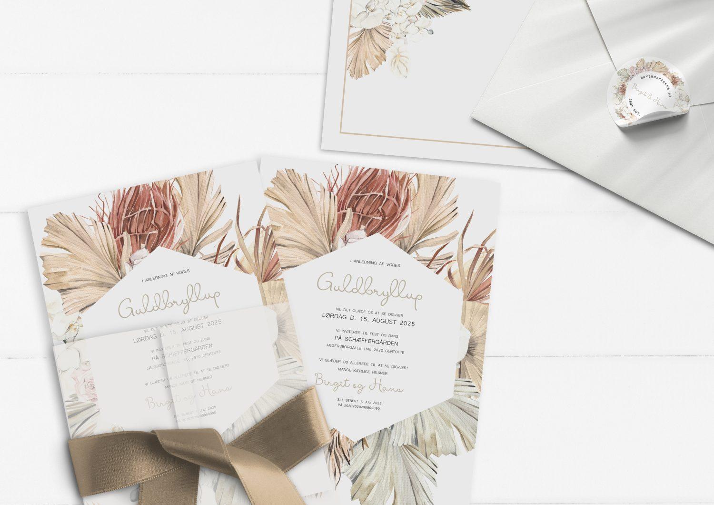 Botanical rhapsody guldbryllup invitationer