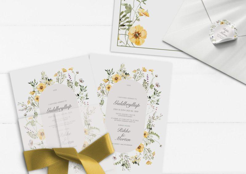 Invitation til gukdbryllup gule blomster