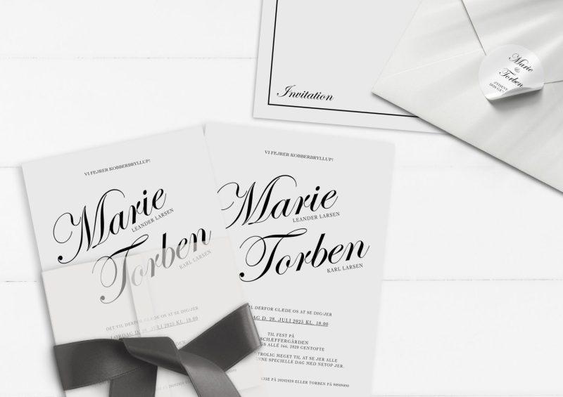 Kobberbryllup invitation kaligrafitti
