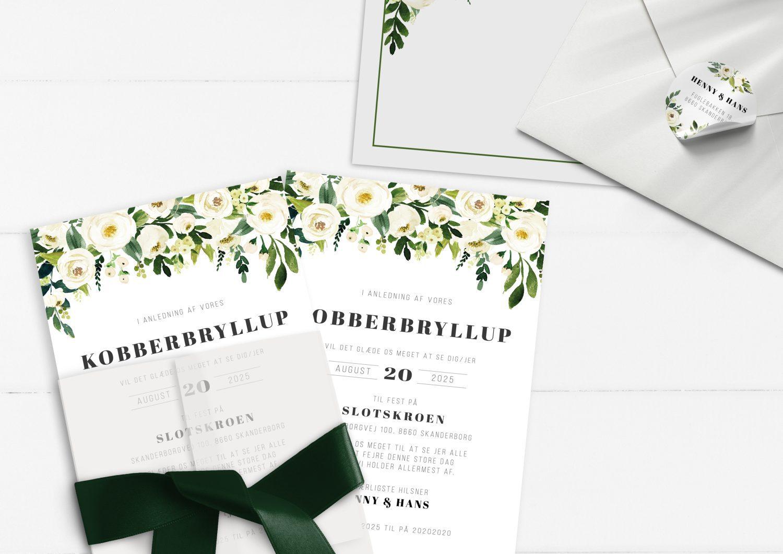 Kobberbryllup invitation grønne blade og hvide blomster