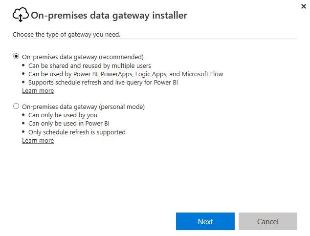 Figura 2 - On-Premises Data Gateway installazione
