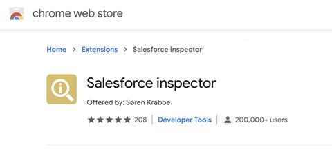 Salesforce inspector app on Chrome web store
