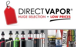 DirectVapor Logo with vapes and ejuice