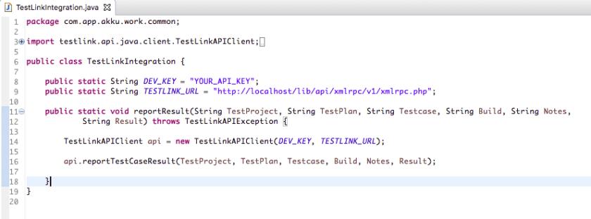 Test Link Integration