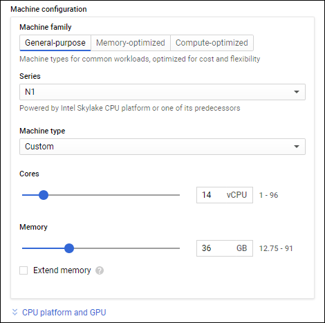 Configurator for instance sizes