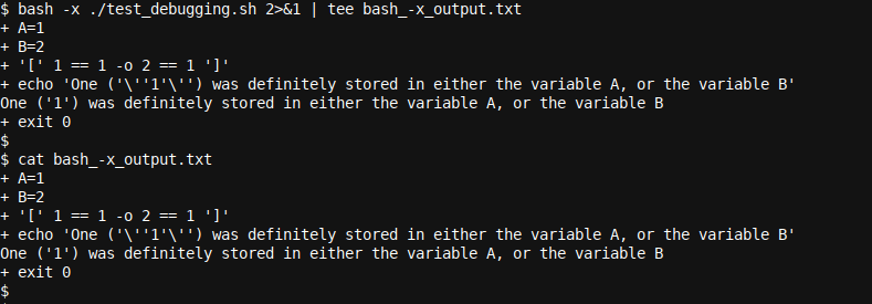 Using tee in combination with bash -x