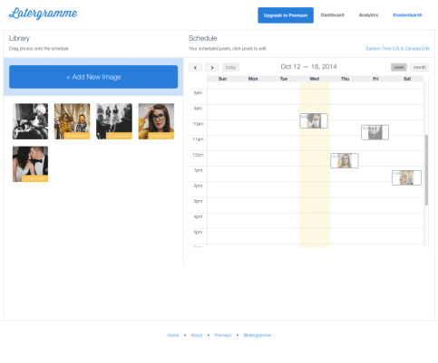 Strumento di pianificazione di Instagram come Latergramme