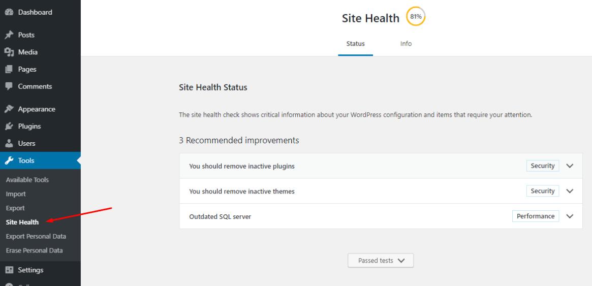 Comprobador de salud del sitio