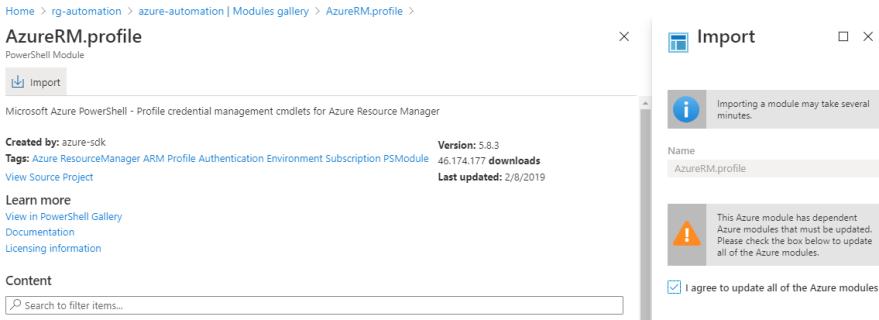 Azure VPN Verbindung mit einer dynamischen IP-Adresse - Module importieren
