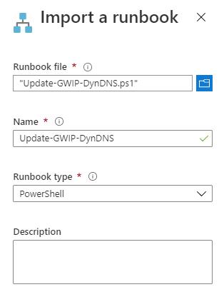 Azure VPN Verbindung mit einer dynamischen IP-Adresse - Runbook importieren PowerShell