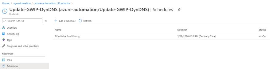 Azure VPN Verbindung mit einer dynamischen IP-Adresse - Zeitplan zuweisen