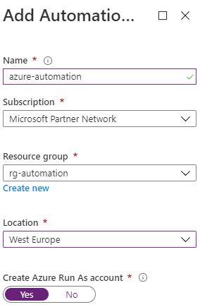 Azure VPN Verbindung mit einer dynamischen IP-Adresse - Anlegen eines Automation Accounts