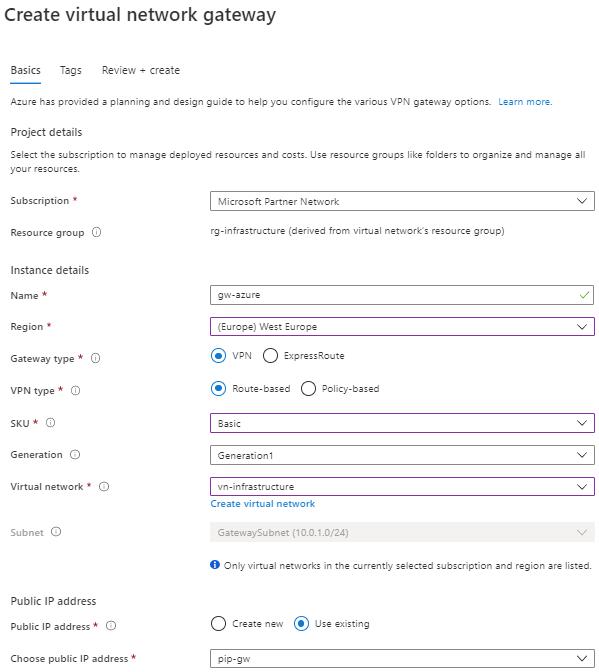 Einrichtung einer Azure VPN Verbindung zur Ubiquiti USG - Erstellen eines Azure VPN Gateways