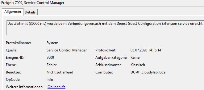 Azure Arc Client Installationsfehler - Das Zeitlimit (30000 ms) wurde beim Verbindungsversuch mit dem Dienst Guest Configuration Extension service erreicht.