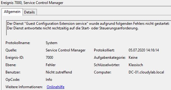 """Azure Arc Client Installationsfehler - Guest Configuration Extension  Der Dienst """"Guest Configuration Extension service"""" wurde aufgrund folgenden Fehlers nicht gestartet:  Der Dienst antwortete nicht rechtzeitig auf die Start- oder Steuerungsanforderung."""