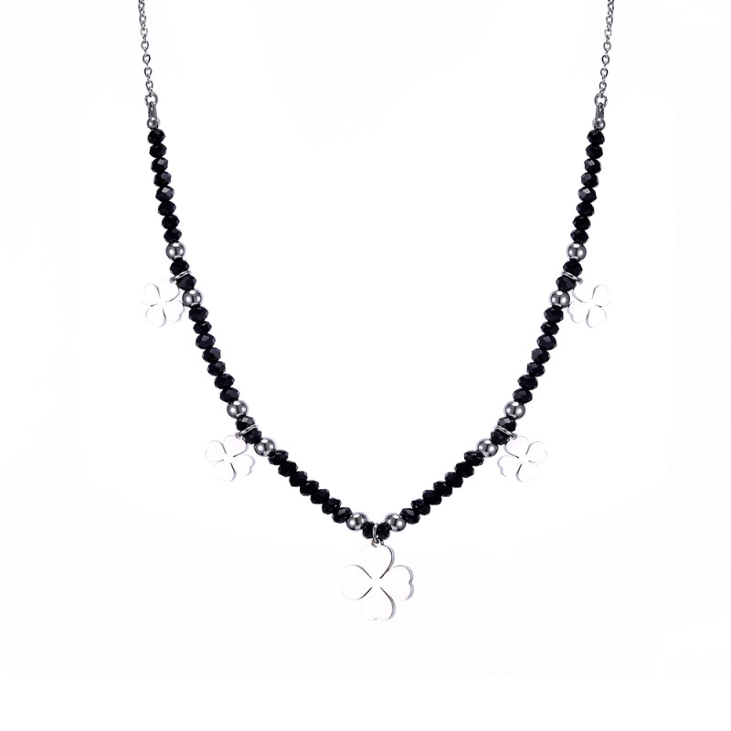 Crystal Beaded Jewelry Choker Necklace for Women Classic Beads Chain Stainless Steel Clover Star Heart Necklaces & Pendants Gift CLOVER JEWELLERY