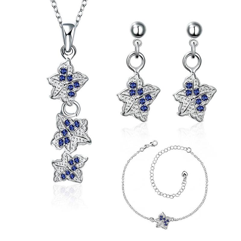 Garilina Latest Design Clover Silver Color Blue CZ choker Pendant Earrings Bracelet fashion jewelry Sets CLOVER JEWELLERY