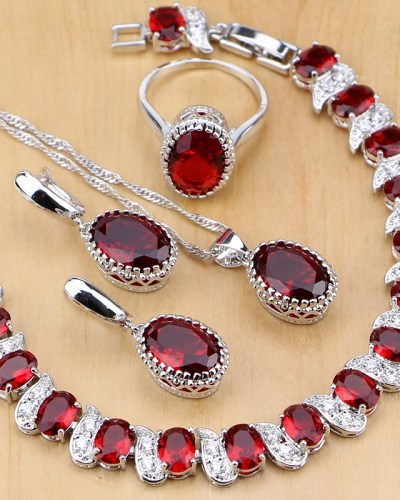 Natural 925 Silver Jewelry Red Birthstone Charm Jewelry Sets Women Earrings/Pendant/Necklace/Ring/Bracelets