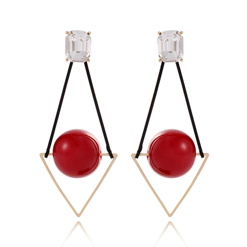 Geometric Long Earrings Rose Gold-Color Drop Earings CLOVER JEWELLERY