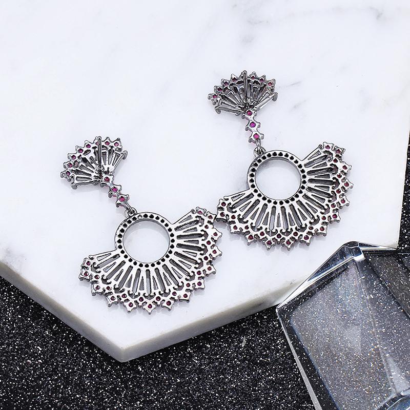 Vintage Pendent Ethnic Flower Drop Earrings CLOVER JEWELLERY