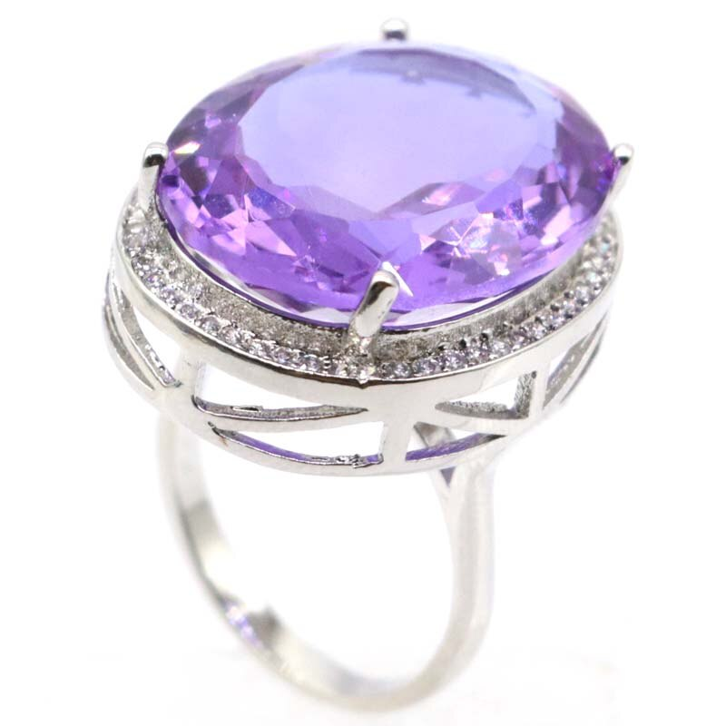 Delicate Fine Cut Dazzling Big Oval 22x18mm Created Color Changing Alexandrite Topaz For Ladies Silver Rings CLOVER JEWELLERY