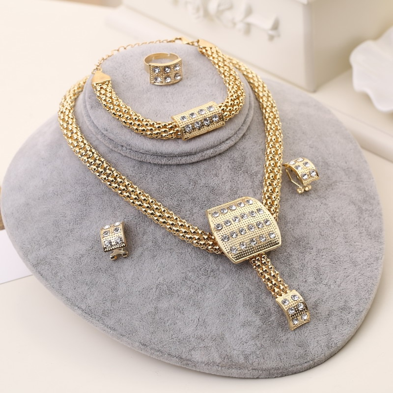 Dubai Gold Jewelry Sets Nigerian Wedding African Beads Crystal Bridal Jewellery Set Rhinestone Ethiopian Jewelry parure CLOVER JEWELLERY