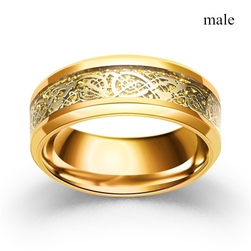 Fashion Jewelry Couple Rings Vintage Dragon Stainless Steel Men Ring Romantic Heart Zircon Ring Set Bridal Engagement Gift CLOVER JEWELLERY