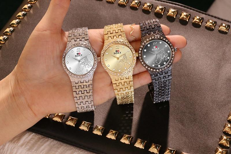 Women Watches Women Fashion Watch Luxury Diamond Women's Gold Wrist Watch Ladies Watch Women Gifts Stainless Steel Clock CLOVER JEWELLERY