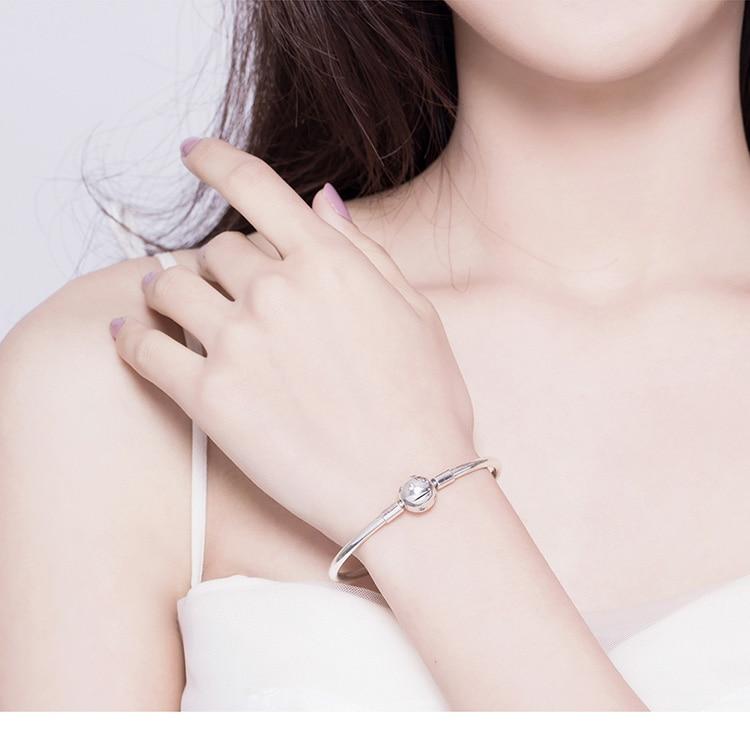 Pulseira 925 Sterling Silver Bracelet Femme Snowflake Heart Blue Eye Femme Snake Chain Bracelets & Bangles Women Jewelry CLOVER JEWELLERY