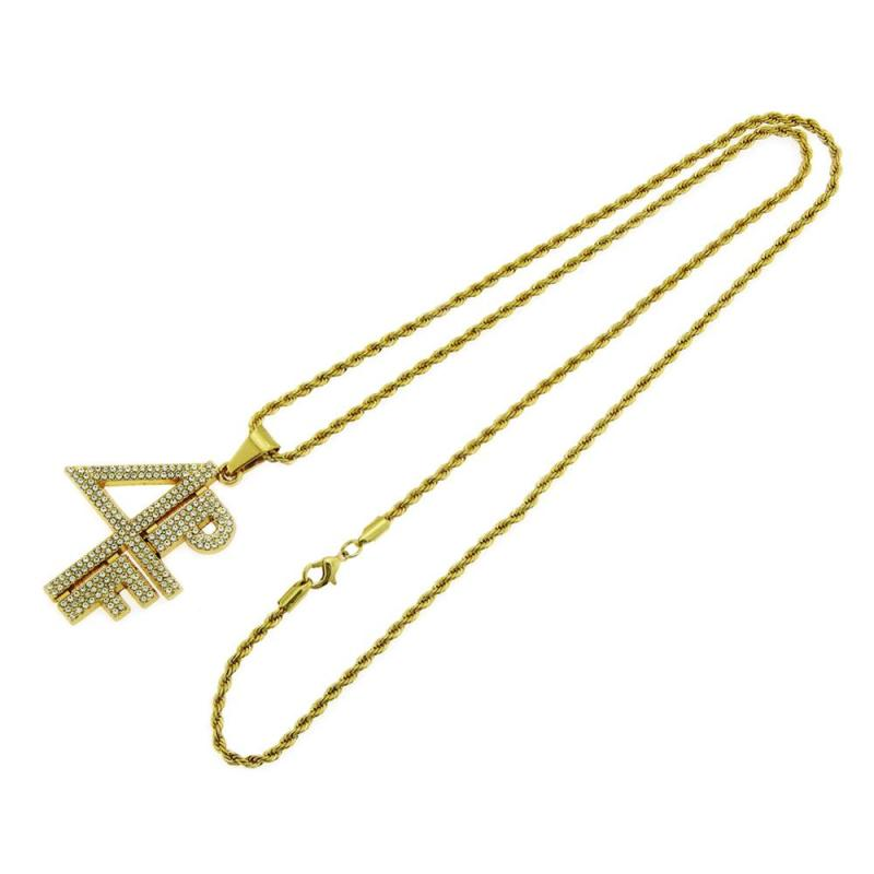 Hip Hop Rhinestones Paved Bling Iced Out 4PF Pendants Necklace for Men Rapper Jewelry Gold Silver Color CLOVER JEWELLERY