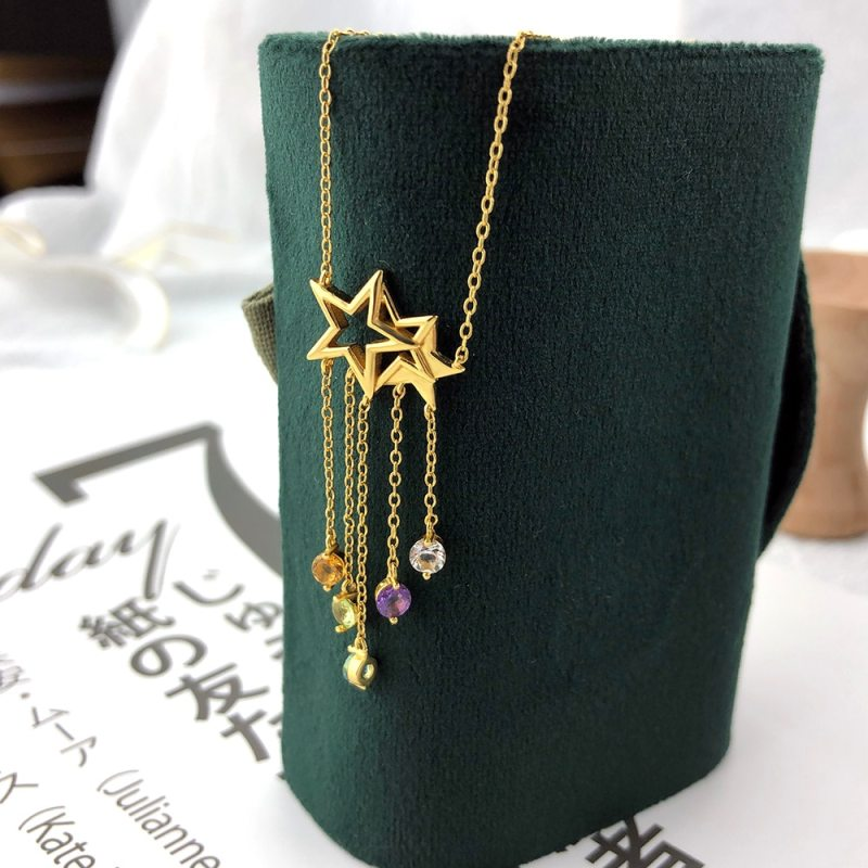 925 Sterling Silver Necklace Star Tassel Shooting Star Gemstone Pendant Plated Fine Jewelry CLOVER JEWELLERY