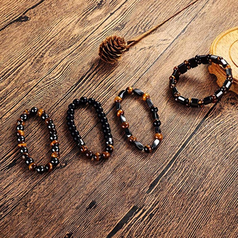 Natural Tiger Eye Hematite Men Bracelets Set Magnetic Health Protection Balance Beads Bracelets Women Reiki Healing Jewelry Gift CLOVER JEWELLERY