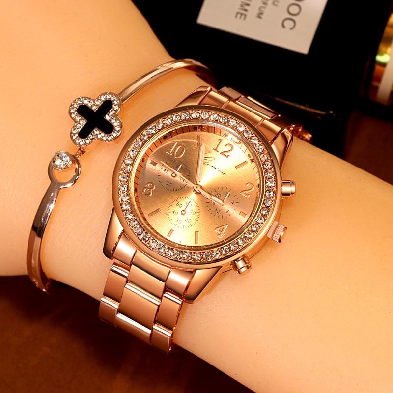 Women's Watches Geneva Classic Luxury Rhinestone Watch Women Watches Ladies Fashion Gold Watch Clock CLOVER JEWELLERY