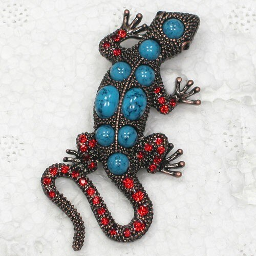 12pcs/lot Wholesale Brooch Rhinestone Gecko Pin brooches Men's Woman Accessories CLOVER JEWELLERY