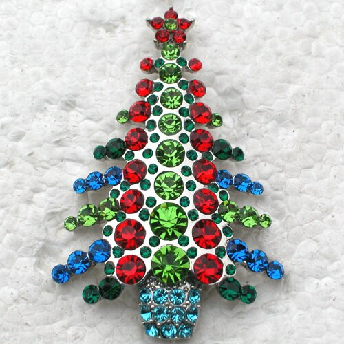 12pcs/lot Wholesale Christmas Brooch Rhinestone Christmas tree Pin brooches Jewelry Gift CLOVER JEWELLERY
