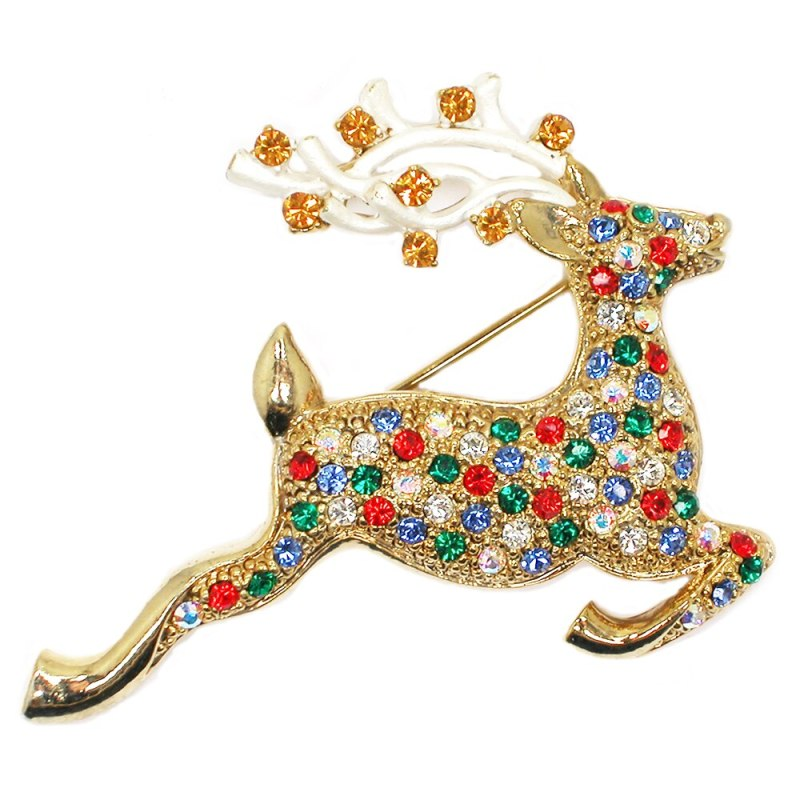 12pcs/lot Wholesale Fashion Brooch Colorful Crystal Rhinestone Sika Deer Pin brooches Jewelry gift CLOVER JEWELLERY